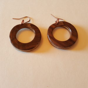 Walnut Loop Wood Earrings (20-11)