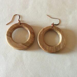 Brown Wood Round Earrings (20-08)